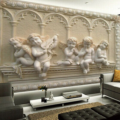 Modern Luxury 3D Embossed Angel Wallpaper Mural Roll Bedroom Wall TV Background