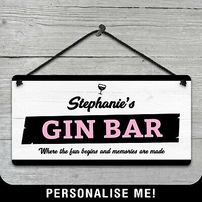 Personalised Hanging Bar License Sign Metal Plaque Pub Kitchen Vintage Retro Gin