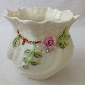 Belleek-Carlingford-Small-Cache-Pot-Blue-Mark-Vintage-Perfect-Condition-Boxed
