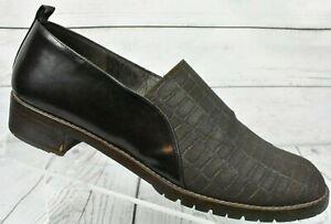 Donald-J-Pliner-Brown-Slip-On-Low-Heels-Canvas-Croc-Design-Womens-Size-8-5-M
