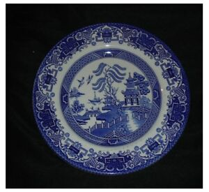 3-x-VINTAGE-ENGLISH-IRONSTONE-POTTERY-DINNER-PLATES-24cms-OLD-WILLOW