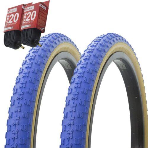 "1PAIR Bicycle Bike Tires /& Tubes 20/"" x 2.125/"" Blue//Gum Side Wall BMX COMP3"