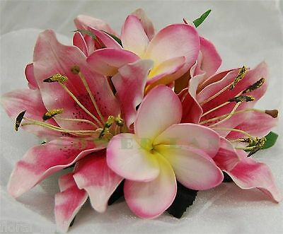 LATEX REAL TOUCH PINK ORIENTAL LILY FLOWER WEDDING WHITE FRANGIPANI CAKE TOPPER