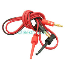 1 Pair Red Amp Black Small Test Hook Clip To Banana Plug For Multimeter Lead Cable