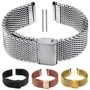 Watch STRAP Milanese Stainless Steel Mesh Loop Watch Bracelet Silver Black Gold Rose