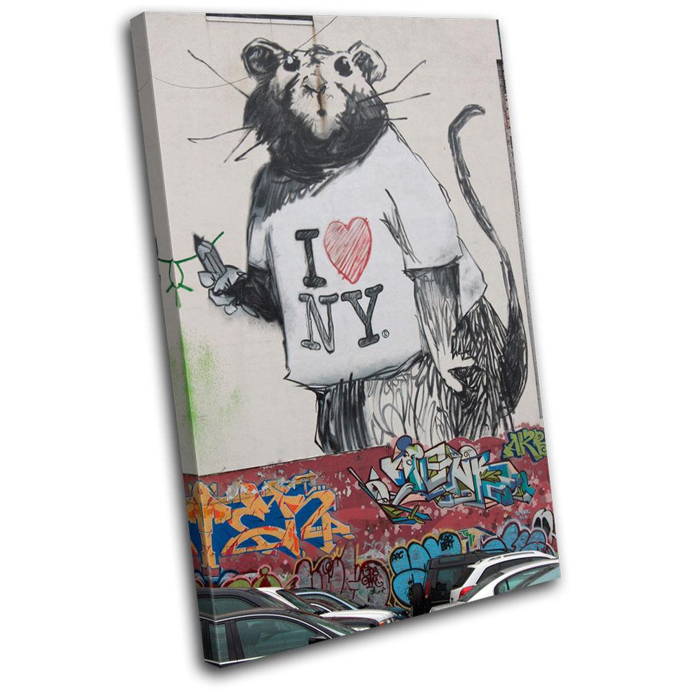 Rat I Banksy Heart NY Banksy I Street SINGLE LONA pared arte Foto impresion a2e466