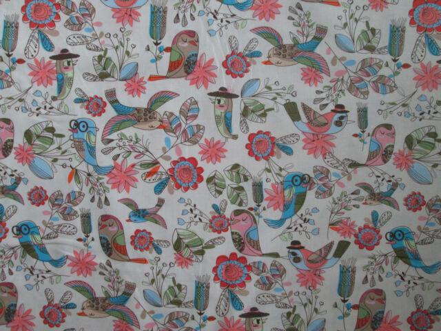 BIRDS HATS GLASSES FLOWERS COLORS COTTON FABRIC FQ