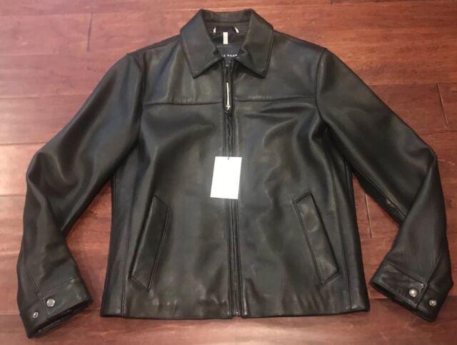 7dc5b5da4 Cole Haan Black Lambskin Leather Moto Bomber Mens Jacket Coat Sz S L NWT  $700 .
