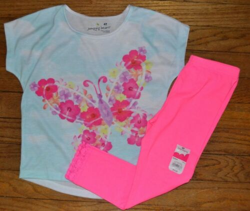 Jumping Beans Short Sleeve Cat or Butterfly Outfit Capri or Long Leggings