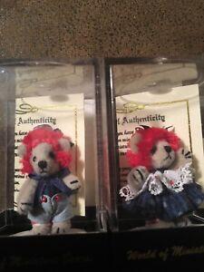 "World of Miniature Bears 1.25/"" Cashmere Bear Baby Ann /& Andy #893SET"
