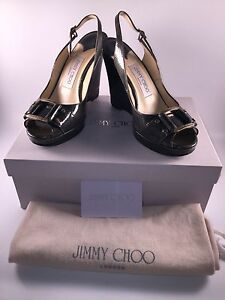 a4f5775e7a77 Image is loading Jimmy-Choo-Betsy-Wedge-Sandals-Liquid-Patent-Steel-