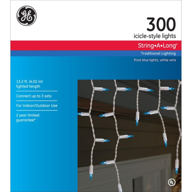 GE 300 Frost Blue Icicle Style Lights String a Long White Wire 13.2 ...