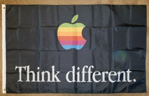 Apple Think Different Black 3 x 5 Feet Flag Banner Tapestry College Dorm