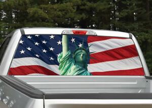 Pick-Up Truck Perforated Rear Window Wrap Statue of Liberty USA Independence