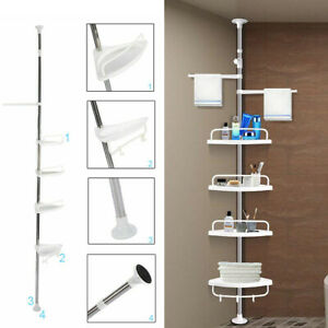 Corner Shower Caddy 4 Tier Bathroom Shelf Telescopic Pole Rack For Shampoo Soap Ebay
