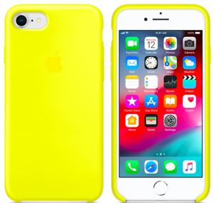 iPhone-8-7-SE-2020-Apple-Echt-Original-Silikon-Schutz-Huelle-Gelb-Flash-Blitz