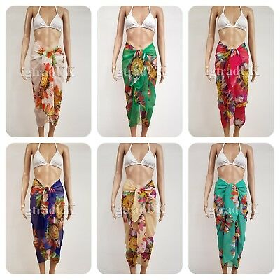 5d68d70bcd Details about CHIFFON SARONGS SUNFLOWER FLORAL PRINT SARONG COVER-UP WRAP  ONE SIZE UK 8-16