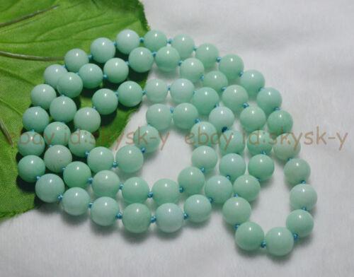 Long 30 in 10 Mm Naturel Bleu Amazonite Gemme Perles Rondes Colliers environ 76.20 cm