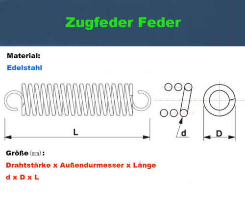 1Stk Zugfeder Feder Edelstahl  Drahtstärke=1,0mm OD=12mm Länge=70-120mm Neu