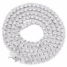 "Solitaire 1 Row Chain 18"" Tennis Necklace Men Womens Lab Diamond White Finish"