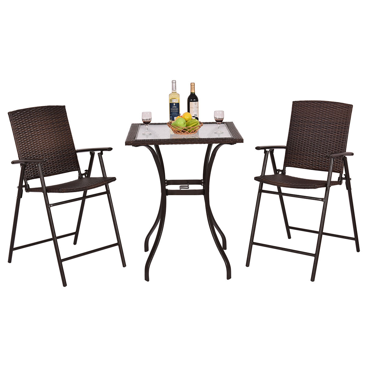 Cheap New Couches: Garden Bistro Set Table 2 Chair Patio Rattan Balcony Cheap