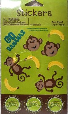 25 Sock Monkey  Stickers Party Favor Teacher Supply #2
