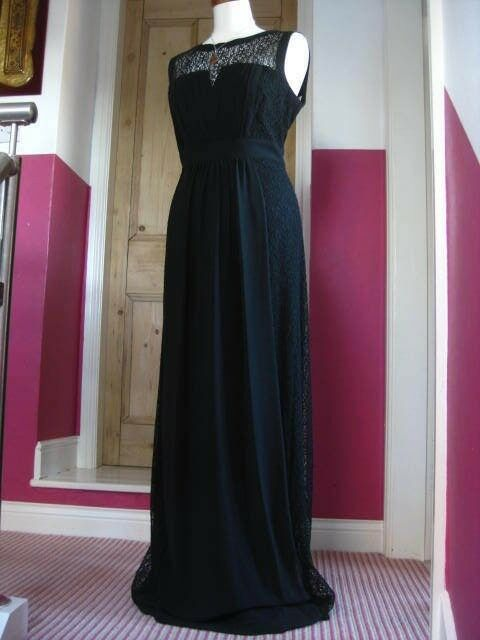 NEW schwarz lace PLANET EVENING DRESS Größe UK10 retro gatsby downton party