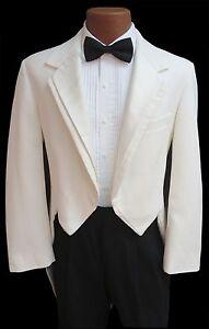Ivory Off White Oscar de la Renta Contour Formal Tuxedo Tailcoat Prom Wedding