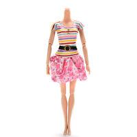 1 X Fashion Dresses For Barbies Striped Top Printed Tutu Skirt Doll Clothes Dsuk