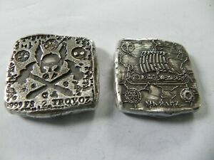 "1.5 Troy Oz  MK BarZ /""Pirate Trading/"" Bar .999 Fine Silver HAND POURED"