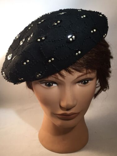 Vtg Mid Century Womens Black Wool Blend Embroidery Beret One Size