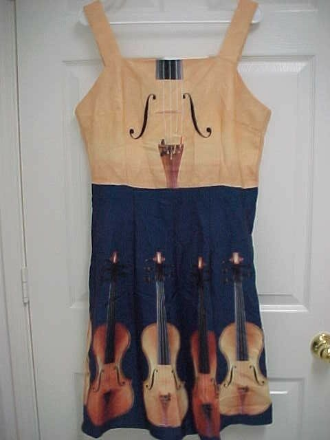 Upright ORCHESTRA BASS INSTRUMENT damen Spaghetti Strap Dress XL New