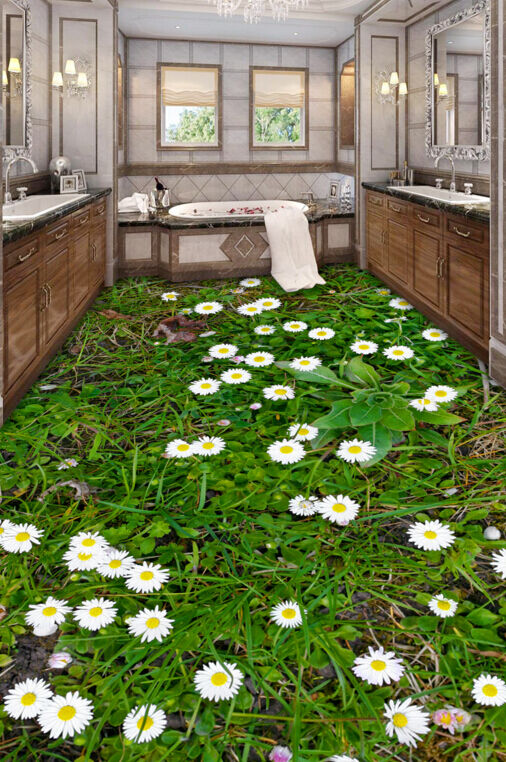 3D Weiße Blaumen auf Rasen 4 Fototapeten Wandbild Fototapete BildTapete FamilieDE