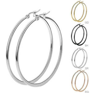 Womens-Girls-Black-Silver-Rose-Gold-Gold-Stainless-Steel-Big-Round-Hoop-Earrings