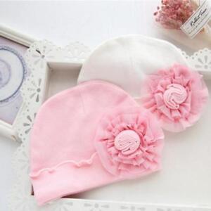 eb5cf1cdf2d Newborn Baby Girl Sweet Hat Infant Big Flower Soft Cotton Hospital ...