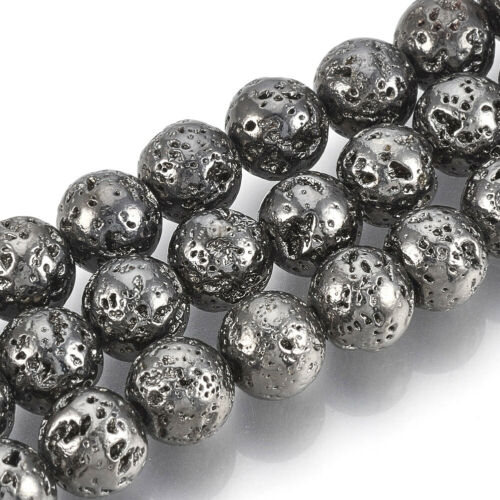 1 Strd Gunmetal Electroplated Natural Lava Round Beads Bumpy Stone Spacer 4~10mm