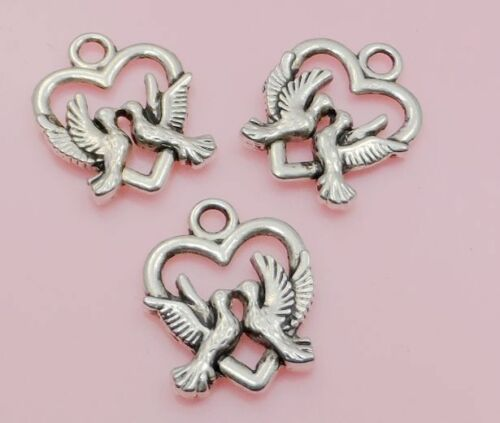 Free Ship 10//50//200Pcs Antique Silver Bird Charms pendant for bracelet 15*19mm