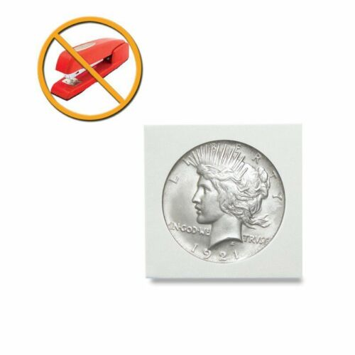NO STAPLES Lot of 500 2x2 Peel N Seal Self Adhesive SILVER DOLLAR Coin Flips
