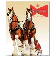 Budweiser Bud Beer Clydesdale Team Vintage Retro Style Decor Metal Tin Sign