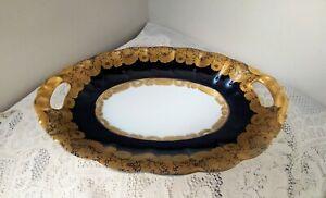 Vintage-Echt-Kobalt-Blue-Gold-Floral-Handled-Serving-Dish-Germany