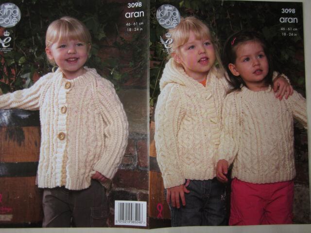 1198ee827 King Cole Knitting Pattern 3098 Child Aran Wool Hooded Jacket Coat ...