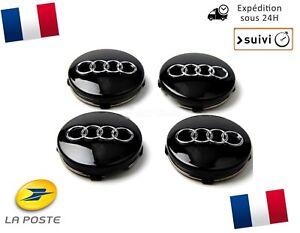 4X-Cache-Moyeu-Centre-Roue-Enjoliveur-Embleme-Jante-Logo-insigne-Audi-60MM-Noir
