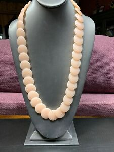 Vintage Necklace  Lucite Flat beaded Pale Flesh Pink long 24