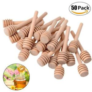 50Pcs-Wooden-Jam-Honey-Dipper-Wood-Stirring-Rod-Stick-Syrup-Spoon-Dip-Drizzler