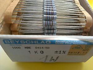50-pcs-Genuine-Vintage-Beyschlag-Resistors-MBE0414-1K-1000-1-power-1W