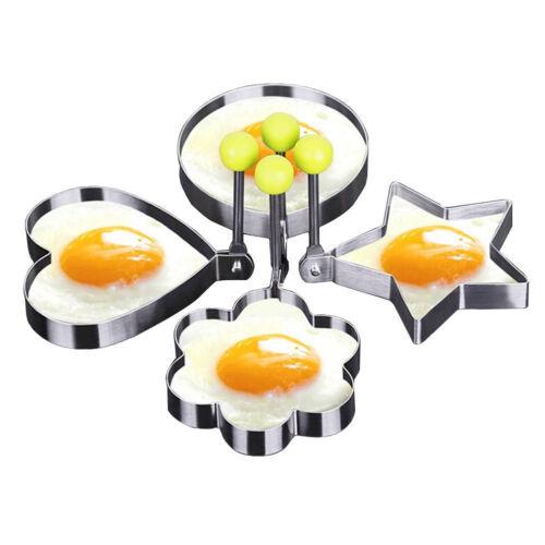 Modelador De Cocina De Acero Inoxidable 4X Huevos Panqueques Molde Sartén Frito Anillo Círculo