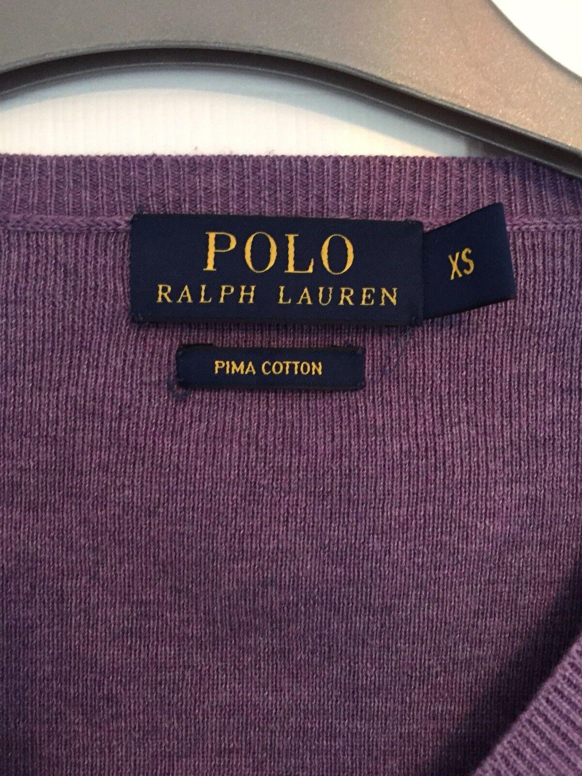 Ralph Lauren Slim Fit Fit Fit Cotone Pima collo V Maglione S 36 38 nuovo senza etichetta f7e857