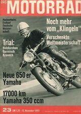 M6923 + 17.000 km YAMAHA YR-3 350 ccm + YAMAHA XS 1 650 + Das MOTORRAD 23/1969