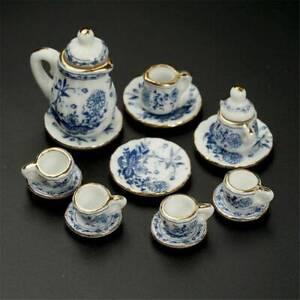 NEW-15pcs-Dollhouse-Miniature-Dish-Cup-Plate-Dining-Ware-Porcelain-China-Tea-Set