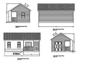 Shed Plans 26 X14 Drawings Blueprints Shed 14 X26 Gable Front Porch